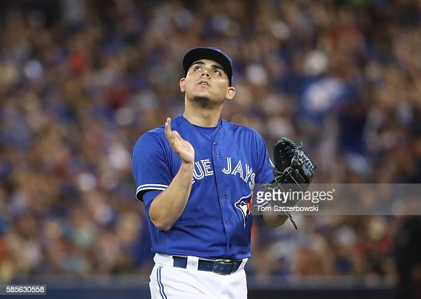 Roberto Osuna of the Toronto Blue Jays reacts after getting the last out of the ninth inning during MLB game action against the Baltimore Orioles on...