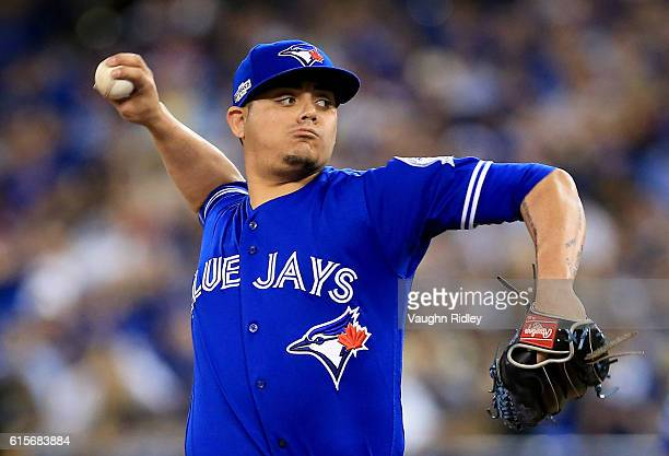 Roberto Osuna of the Toronto Blue Jays throws a pitch in the ninth inning against the Cleveland Indians during game five of the American League...