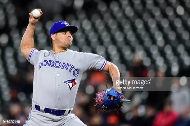 Roberto Osuna of the Toronto Blue Jays throws a pitch in the ninth inning against the Baltimore Orioles at Oriole Park at Camden Yards on April 10...