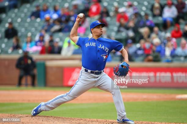 Roberto Osuna of the Toronto Blue Jays throws in the ninth inning against the Texas Rangers at Globe Life Park in Arlington on April 8 2018 in...