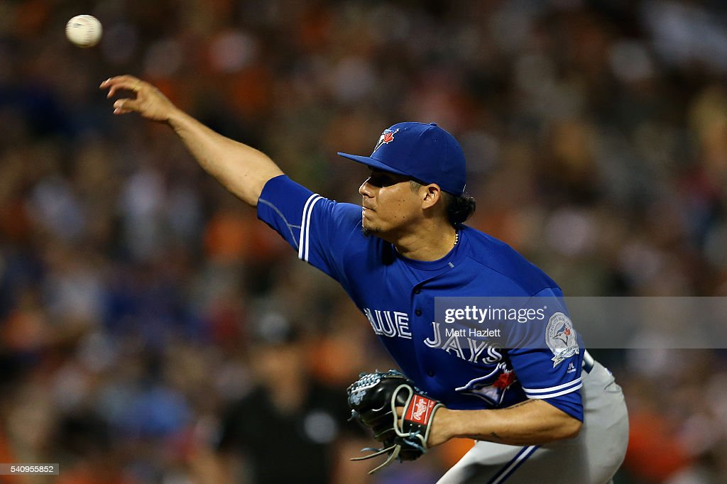 Roberto Osuna #54 of the Toronto Blue Jays works in the ninth inning against the Toronto Blue Jays at Oriole Park at Camden Yards on June 17, 2016 in Baltimore, Maryland.