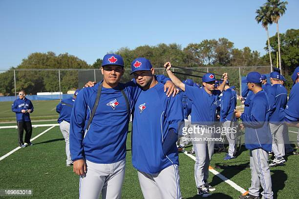 Roberto Osuna, one of the Blue Jays top pitching prospects, poses with Luis Rivera, who is coming off Tommy John surgery, at the Jays' minor-league...