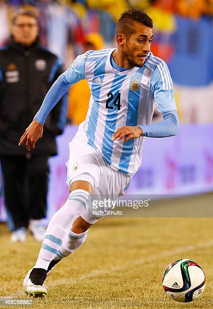 Roberto Pereyra of Argentina moves the ball against Ecuador in the second half during an international friendly match between Argentina and Ecuador...