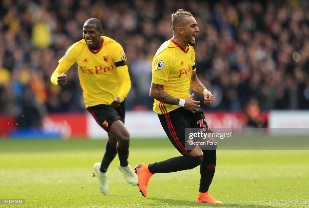 Roberto Pereyra of Watford celebrates after scoring his sides first goal during the Premier League match between Watford and Burnley at Vicarage Road on April 7, 2018 in Watford, England.