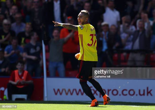 Roberto Pereyra of Watford celebrates after scoring his sides first goal during the Premier League match between Watford and Newcastle United at...