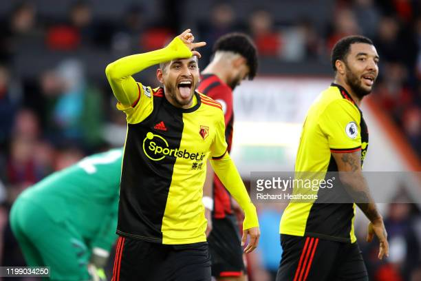 Roberto Pereyra of Watford celebrates after scoring his sides third goal during the Premier League match between AFC Bournemouth and Watford FC at...