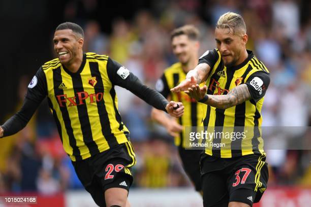 Roberto Pereyra of Watford celebrates after scoring his team's first goal during the Premier League match between Watford FC and Brighton Hove Albion...