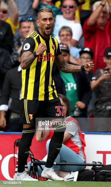 Roberto Pereyra of Watford celebrates after scoring his team's second goal during the Premier League match between Watford FC and Brighton Hove...