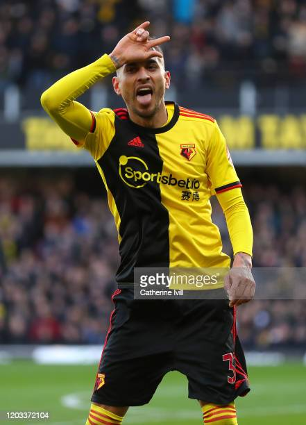 Roberto Pereyra of Watford celebrates after scoring his team's second goal during the Premier League match between Watford FC and Everton FC at...