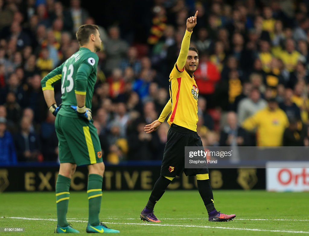 Roberto Pereyra of Watford celebrates his sides first goal during the Premier League match between Watford and Hull City at Vicarage Road on October 29, 2016 in Watford, England.