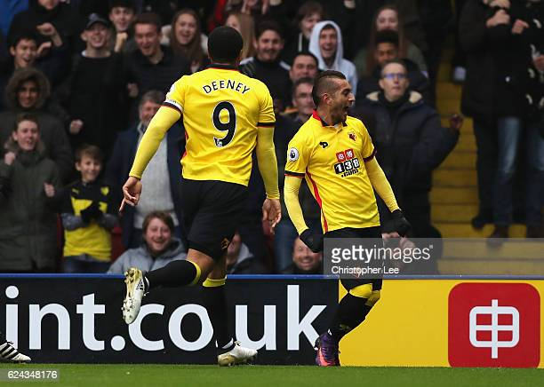 Roberto Pereyra of Watford celebrates scoring his sides second goal during the Premier League match between Watford and Leicester City at Vicarage...