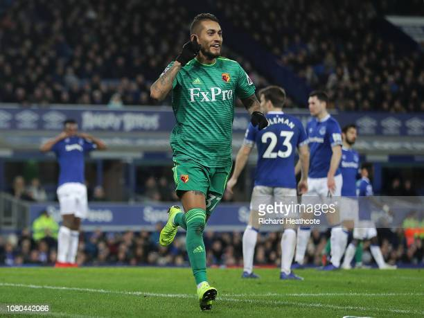 Roberto Pereyra of Watford celebrates their first goal that hit the post and lead to an own goal by Seamus Coleman of Everton during the Premier...