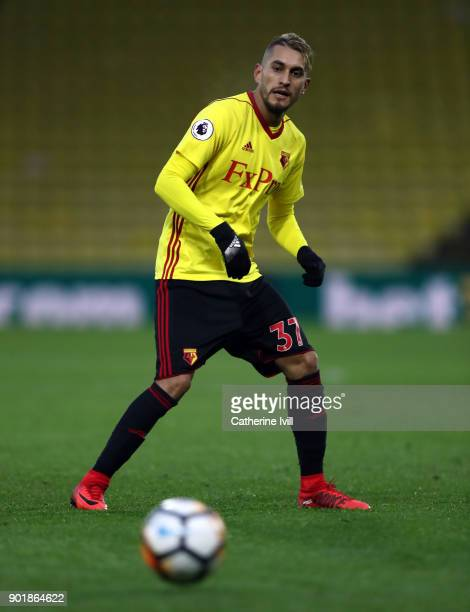 Roberto Pereyra of Watford during the Emirates FA Cup Third Round match between Watford and Bristol City at Vicarage Road on January 6 2018 in...