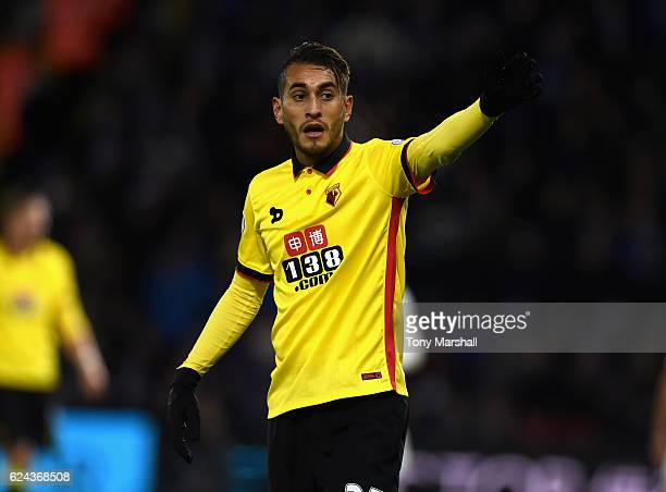 Roberto Pereyra of Watford during the Premier League match between Watford and Leicester City at Vicarage Road on November 19 2016 in Watford England