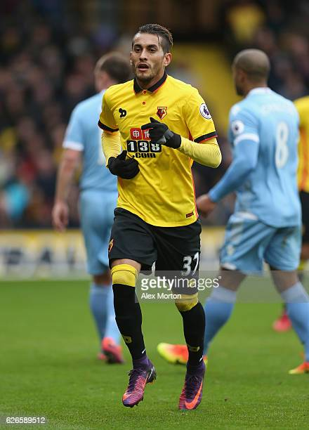 Roberto Pereyra of Watford during the Premier League match between Watford and Stoke City at Vicarage Road on November 27 2016 in Watford England