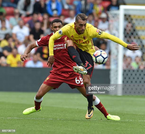Roberto Pereyra of Watford during the Premier League match between Watford and Liverpool at Vicarage Road on August 12 2017 in Watford England