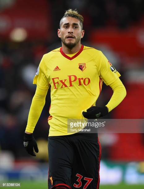 Roberto Pereyra of Watford during the Premier League match between Stoke City and Watford at Bet365 Stadium on January 31 2018 in Stoke on Trent...