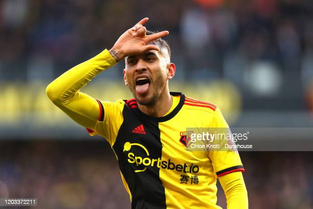 Roberto Pereyra of Watford FC celebrates scoring his teams second goal during the Premier League match between Watford FC and Everton FC at Vicarage...