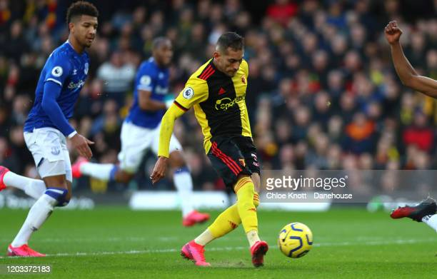 Roberto Pereyra of Watford FC scores his teams second goal during the Premier League match between Watford FC and Everton FC at Vicarage Road on...
