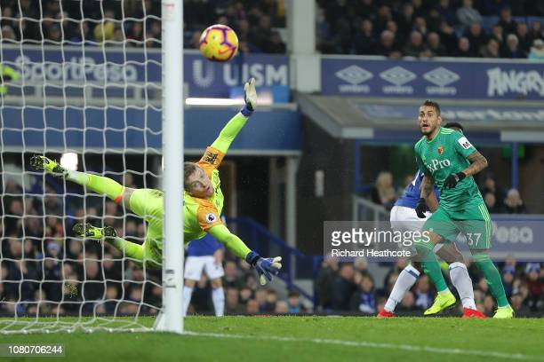 Roberto Pereyra of Watford hits the post with a shot as it bounces back in of Seamus Coleman of Everton for an own goal during the Premier League...