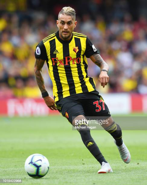 Roberto Pereyra of Watford in action during the Premier League match between Watford FC and Brighton Hove Albion at Vicarage Road on August 11 2018...