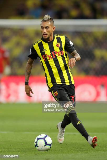 Roberto Pereyra of Watford in action during the Premier League match between Watford FC and Manchester United at Vicarage Road on September 15 2018...