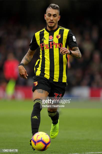 Roberto Pereyra of Watford in action during the Premier League match between Watford FC and Huddersfield Town at Vicarage Road on October 27 2018 in...
