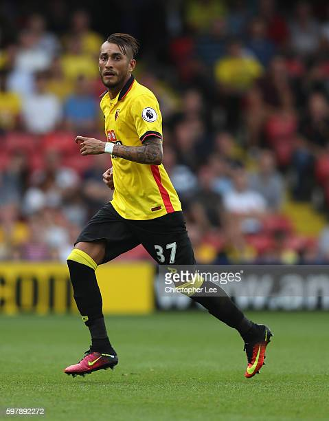 Roberto Pereyra of Watford in action during the Premier League match between Watford and Arsenal at Vicarage Road on August 27 2016 in Watford England