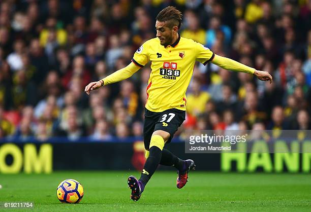 Roberto Pereyra of Watford in action during the Premier League match between Watford and Hull City at Vicarage Road on October 29 2016 in Watford...