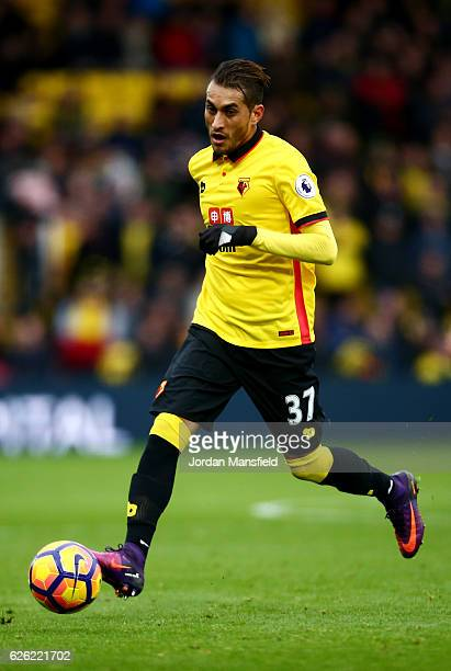 Roberto Pereyra of Watford in action during the Premier League match between Watford and Stoke City at Vicarage Road on November 27 2016 in Watford...