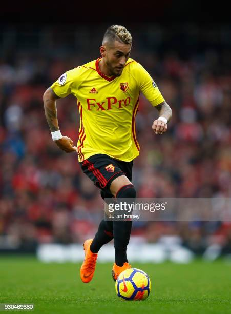 Roberto Pereyra of Watford in action during the Premier League match between Arsenal and Watford at Emirates Stadium on March 11 2018 in London...