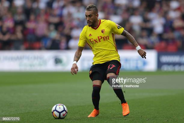 Roberto Pereyra of Watford in action during the Premier League match between Watford and Crystal Palace at Vicarage Road on April 21 2018 in Watford...