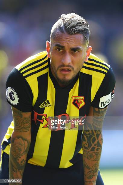 Roberto Pereyra of Watford looks on during the Premier League match between Watford FC and Tottenham Hotspur at Vicarage Road on September 2 2018 in...