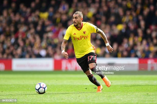 Roberto Pereyra of Watford runs with the ball during the Premier League match between Watford and Burnley at Vicarage Road on April 7 2018 in Watford...