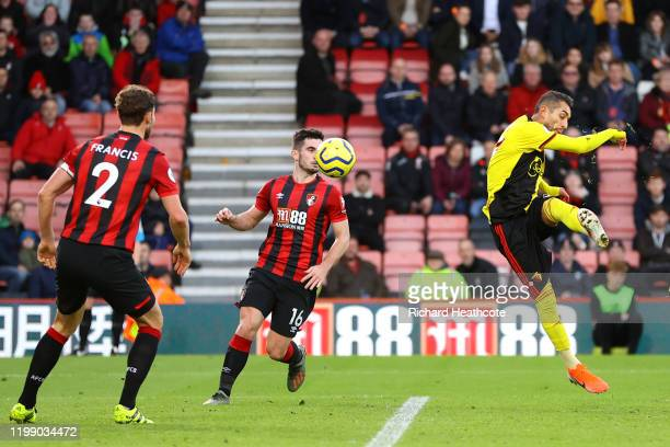 Roberto Pereyra of Watford scores his sides third goal during the Premier League match between AFC Bournemouth and Watford FC at Vitality Stadium on...
