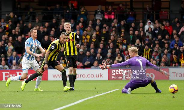 Roberto Pereyra of Watford scores his team's first goal during the Premier League match between Watford FC and Huddersfield Town at Vicarage Road on...