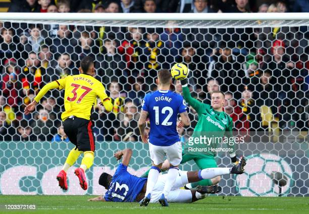 Roberto Pereyra of Watford scores his team's second goal past Jordan Pickford of Everton during the Premier League match between Watford FC and...