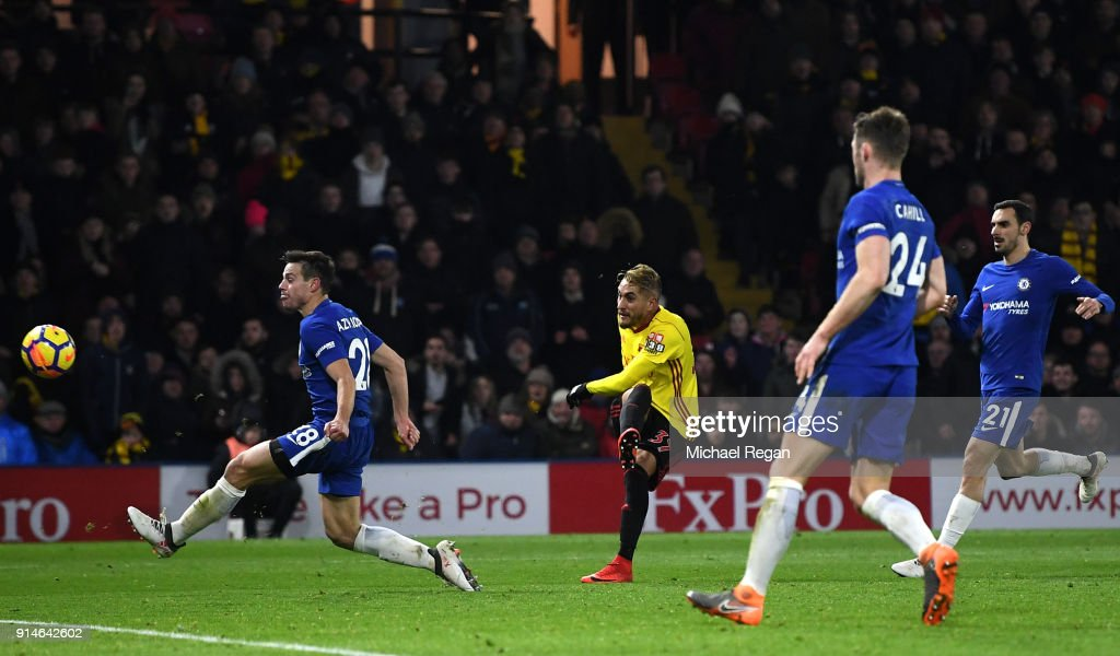 Roberto Pereyra of Watford scores the 4th Watford goal during the Premier League match between Watford and Chelsea at Vicarage Road on February 5, 2018 in Watford, England.