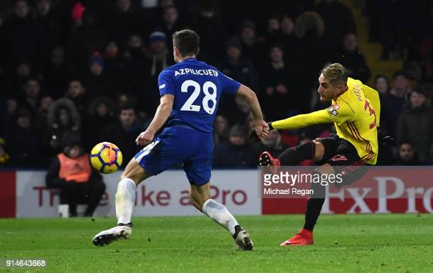 Roberto Pereyra of Watford scores the 4th Watford goal during the Premier League match between Watford and Chelsea at Vicarage Road on February 5...