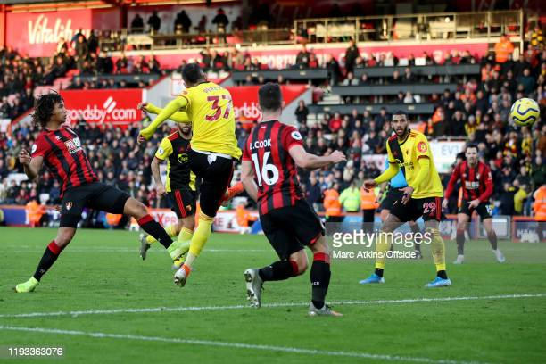 Roberto Pereyra of Watford scores their 3rd goal during the Premier League match between AFC Bournemouth and Watford FC at Vitality Stadium on...