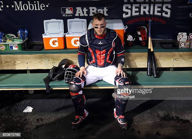 Roberto Perez of the Cleveland Indians gets ready in the dugout prior to Game 7 of the 2016 World Series against the Chicago Cubs at Progressive...