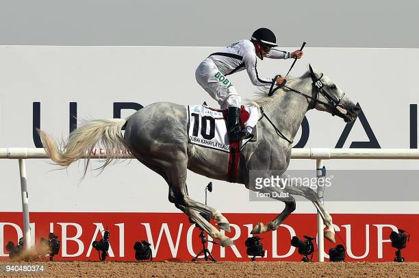 Roberto Perez riding Tallaab Al Khalediah wins the Dubai Kahayla Classic race during the Dubai World Cup Race Day at Meydan Racecourse on March 31...