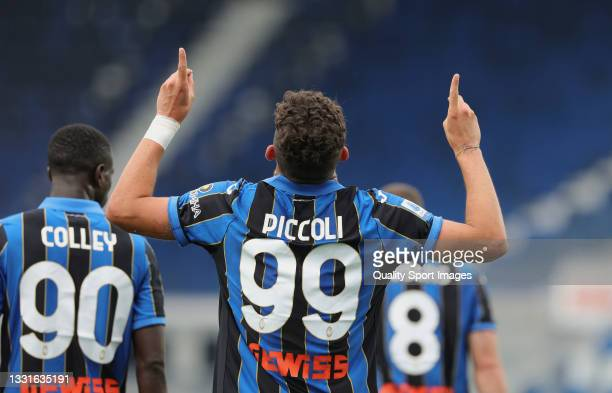 Roberto Piccoli of Atalanta celebrates after scoring his team's first goal during the pre-season friendly Atalanta BC v Pordenone at Gewiss Stadium...
