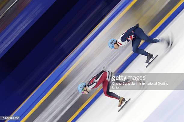 Roberto Pukitis of Latvia and Richard Shoebridge of Great Britain compete in the Men 1000m Ranking Races Heats during the ISU World Short Track Speed...