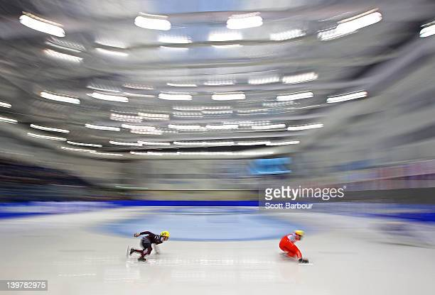 Roberto Pukitis of Latvia competes in the Mens 500 Metres Heats on day two of the 2012 ISU Short Track Speed Skating Junior World Championships at...