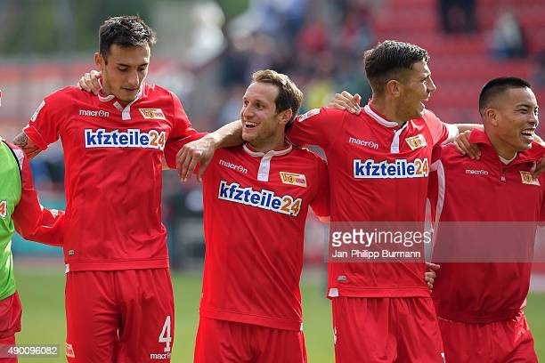 Roberto Puncec Stephan Fuerstner Damir Kreilach and Bobby Wood of 1 FC Union Berlin during the game between Union Berlin and MSV Duisburg on...