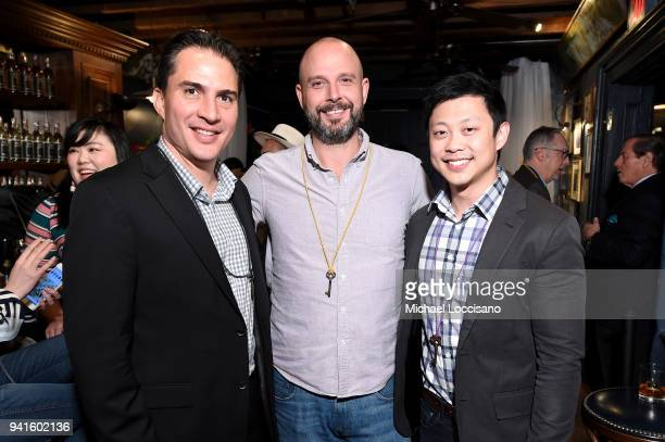 Roberto Ramirez Laverde Ned Duggan and Christopher Ha attend an immersive theatrical experience 'Amparo' presented by HAVANA CLUB Rum on April 3 2018...