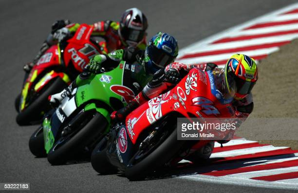Roberto Rolfo of Italy on his Team D'Antin Pramac Alex Hoffman of Germany on his Kawasaki Racing Team and Ruben Xaus of Spain on his Fortuna Yamaha...