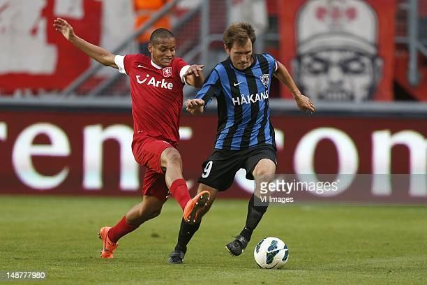 Roberto Rosales of FC Twente, Henri Lehtonen of FC Inter Turku during the Europa League Playoff match between FC Twente and Inter Turku at De Grolsch...