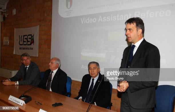 Roberto Rosetti head of VAR Roberto Fabbricini secretary of CONI Luigi Ferajolo president of USSI and Michele Uva general director of FIGC attend the...